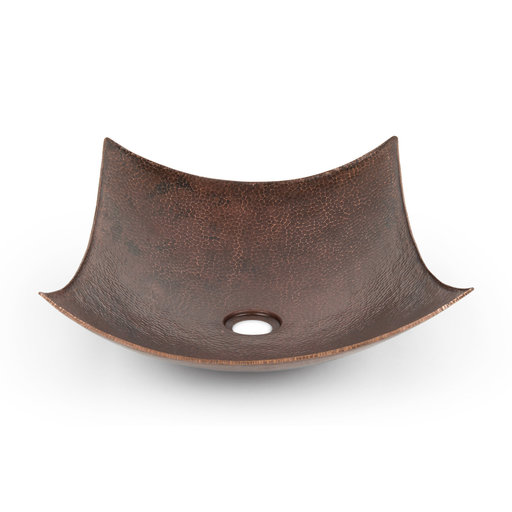 """View a Larger Image of 18"""" Rectangle Modern Slope Hammered Copper Sink"""