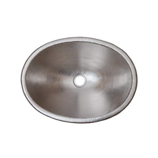 """View a Larger Image of 19"""" Oval Self Rimming Hammered Copper Bathroom Sink in Nickel"""