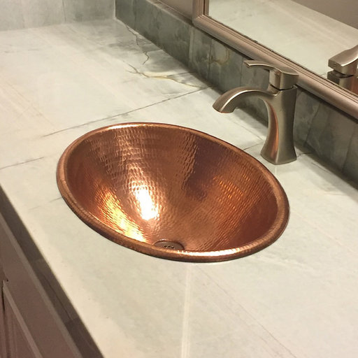 """View a Larger Image of 19"""" Oval Self Rimming Hammered Copper Bathroom Sink in Polished Copper"""