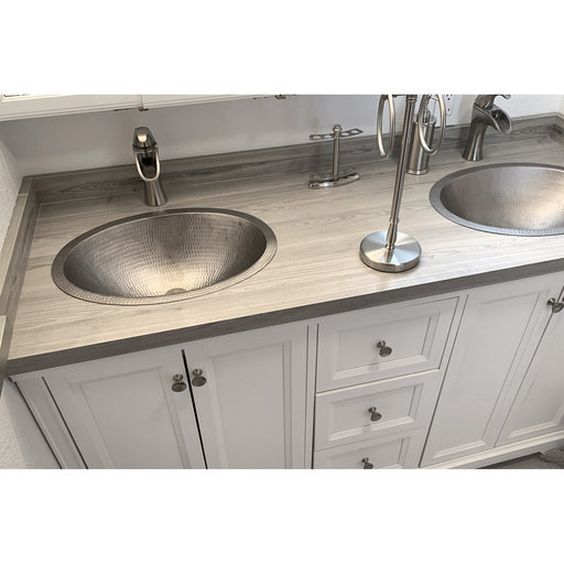 """View a Larger Image of 19"""" Oval Under Counter Hammered Copper Bathroom Sink in Nickel"""