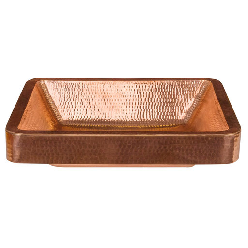 """View a Larger Image of 19"""" Rectangle Skirted Vessel Hammered Copper Sink in Polished Copper"""