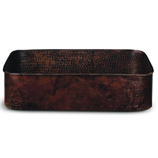"""View a Larger Image of 19"""" Rectangle Tub Hand Forged Old World Copper Vessel Sink"""