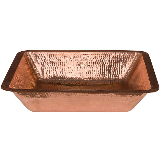 """View a Larger Image of 19"""" Rectangle Under Counter Hammered Copper Bathroom Sink in Polished Copper"""