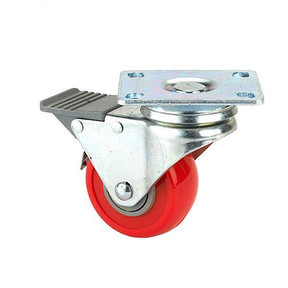 """2-1/2"""" Caster Double Locking Swiveling with 4 Hole Mounting Plate 3-3/8"""" Tall"""