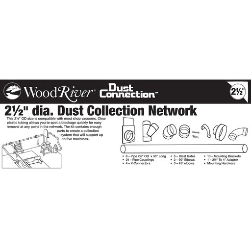 """View a Larger Image of 2-1/2"""" Clear Dust Collection Network"""