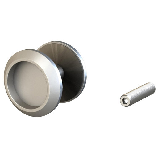 """View a Larger Image of 2-1/4"""" (57 mm) Round Surface-Mount Finger Pulls Satin Aluminum Passage"""