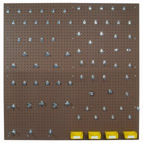 (2) 24 In. W x 48 In. H x 1/4 In. D Tempered Wood Pegboards with 79 pc. DuraHook Assortment, 4 Hanging Bins & Wall Mount