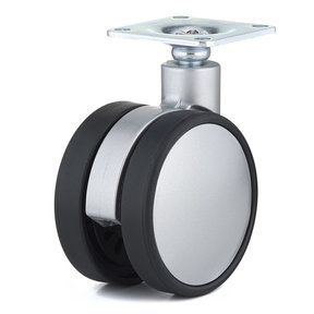 """2-3/8"""" D Contemporary Twin Wheel Casters Swivel Without Brake with Plate Black Silver"""