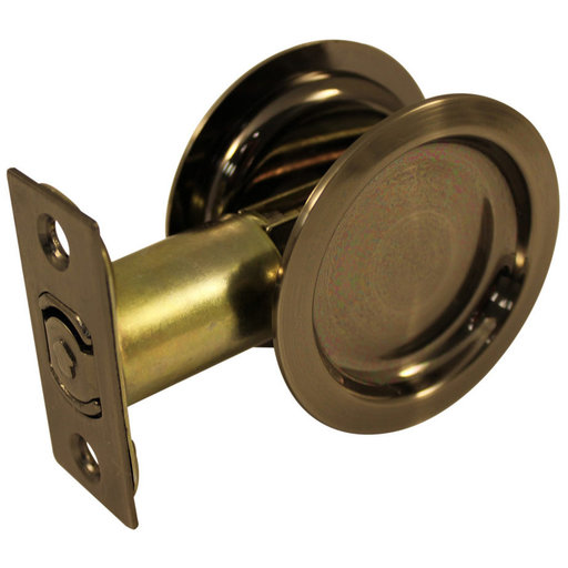 """View a Larger Image of 2-7/16"""" (62 mm) Pocket Door Pull Round Antique Nickel Passage"""