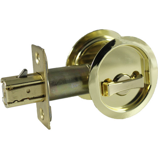 """View a Larger Image of 2-7/16"""" (62 mm) Pocket Door Pull Round Bright Brass Privacy"""