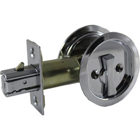 """2-7/16"""" (62 mm) Pocket Door Pull Round Chrome Privacy"""
