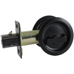 "2-7/16"" (62 mm) Pocket Door Pull Round Flat Black Privacy"