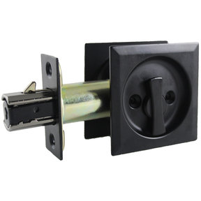 "2-7/16"" (62 mm) Pocket Door Pull Square Black Privacy"
