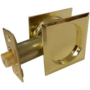 """2-7/16"""" (62 mm) Pocket Door Pull Square Bright Brass Passage"""
