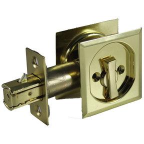 "2-7/16"" (62 mm) Pocket Door Pull Square Bright Brass Privacy"
