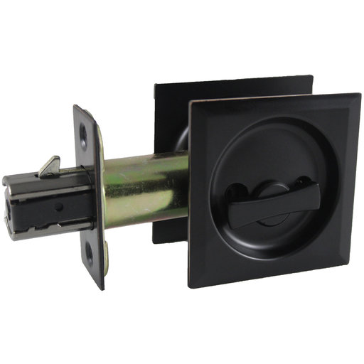 """View a Larger Image of 2-7/16"""" (62 mm) Pocket Door Pull Square Bright Brass Privacy"""
