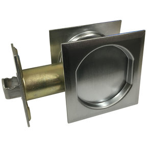 "2-7/16"" (62 mm) Pocket Door Pull Square Brushed Chrome Passage"