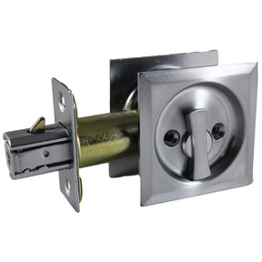 """2-7/16"""" (62 mm) Pocket Door Pull Square Brushed Chrome Privacy"""