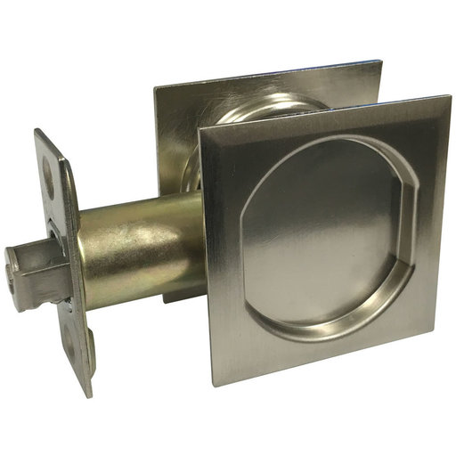 """View a Larger Image of 2-7/16"""" (62 mm) Pocket Door Pull Square Brushed Nickel Passage"""