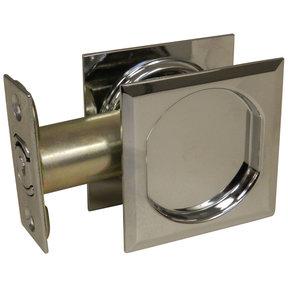 "2-7/16"" (62 mm) Pocket Door Pull Square Chrome Passage"