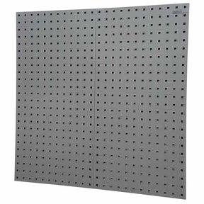 """2-LocBoard® 18""""W x 9/16""""D x 36""""H, 18G Steel Sq. Hole Pegbrds w/30pc LocHook® & Bin Assort - Gray"""