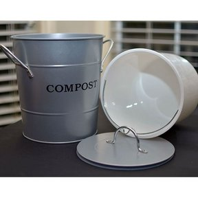 2-N-1 Kitchen Compost Bucket, Silver, Model CPBS04