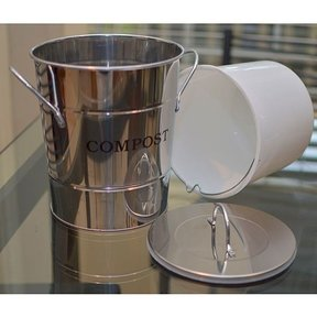 2-N-1 Kitchen Compost Bucket, Stainless Steel, Model CPBS03