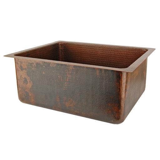 "View a Larger Image of 20"" Hammered Copper Kitchen/Bar/Prep Single Basin Sink"