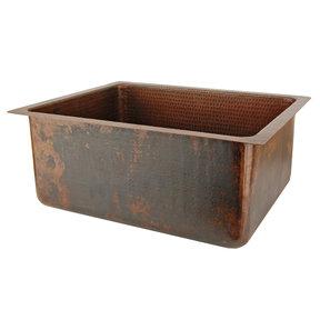 "20"" Hammered Copper Kitchen/Bar/Prep Single Basin Sink"