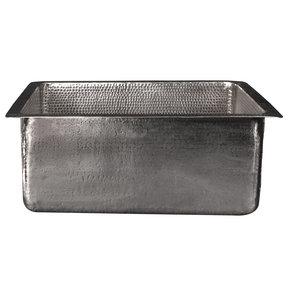 "20"" Rectangle Hammered Copper Kitchen/Bar/Prep Single Basin Sink in Nickel"