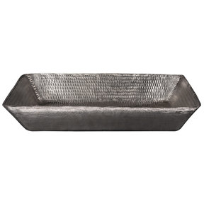 "20"" Rectangle Vessel Hammered Copper Sink in Nickel"