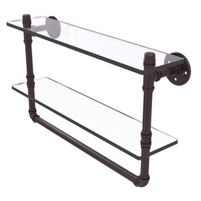 """22"""" Double Glass Shelf with Towel Bar, Antique Bronze Finish"""