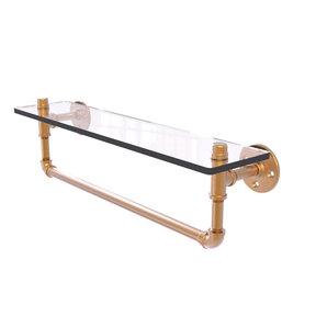"22"" Glass Shelf with Towel Bar, Brushed Bronze Finish"