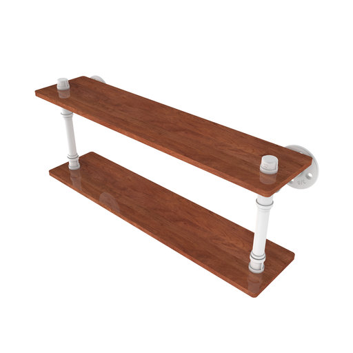 "View a Larger Image of  22"" Ironwood Double Shelf, Matt White Finish"