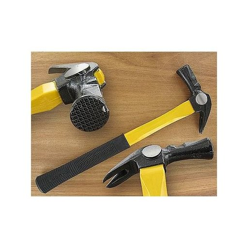 View a Larger Image of 22oz Checker Face Framing Hammer w/Fiberglass Handle & Magnetic Nail Holder - Dia Dogyu