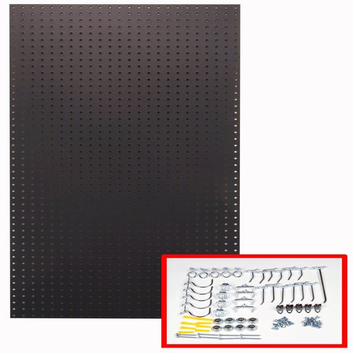 View a Larger Image of 24 In. W x 48 In. H x 1/4 In. D Custom Painted Twilight Black Heavy Duty Tempered Round Hole Pegboards with 36 pc. Locki
