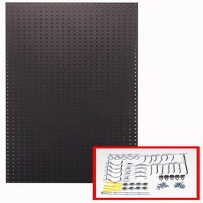 24 In. W x 48 In. H x 1/4 In. D Custom Painted Twilight Black Heavy Duty Tempered Round Hole Pegboards with 36 pc. Locki