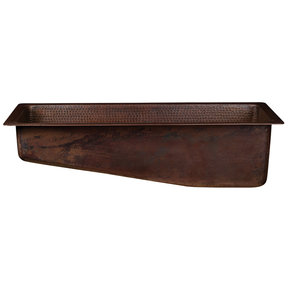 """28"""" Rectangle Hammered Copper Slanted Bar/Prep Sink with 3.5"""" Drain Opening"""