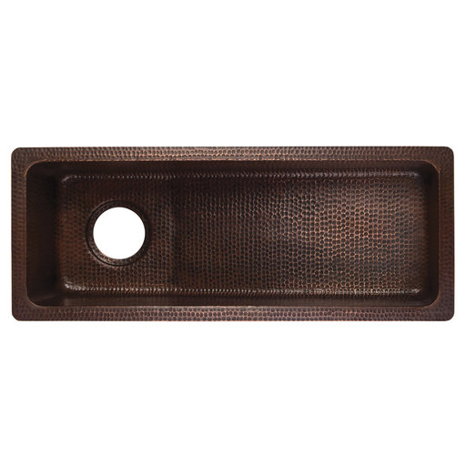"""View a Larger Image of 28"""" Rectangle Hammered Copper Slanted Bar/Prep Sink with 3.5"""" Drain Opening"""