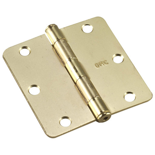 """View a Larger Image of 3-1/2"""" (89 mm) Full Mortise Butt Hinge 1/4"""" Radius Brass"""
