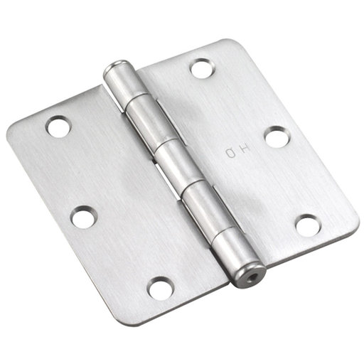 """View a Larger Image of 3-1/2"""" (89 mm) Full Mortise Butt Hinge 1/4"""" Radius Brushed Chrome"""