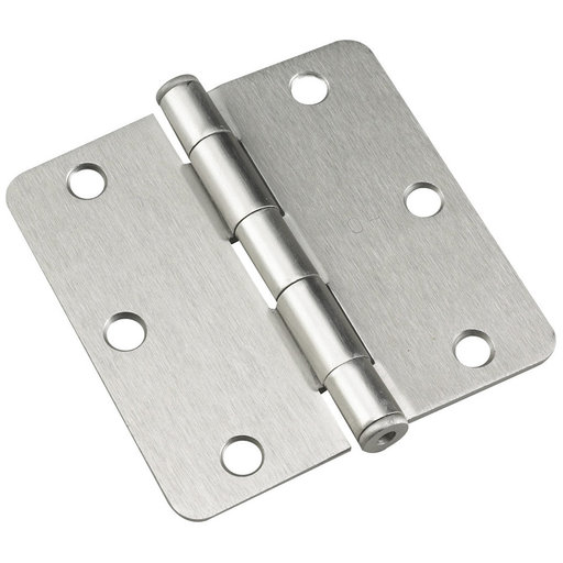 """View a Larger Image of 3-1/2"""" (89 mm) Full Mortise Butt Hinge 1/4"""" Radius Brushed Nickel"""