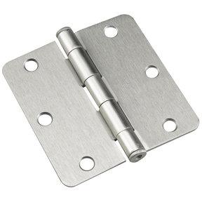 "3-1/2"" (89 mm) Full Mortise Butt Hinge 1/4"" Radius Brushed Nickel"
