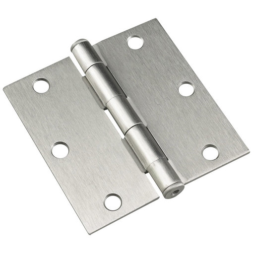 """View a Larger Image of 3-1/2"""" (89 mm) Full Mortise Butt Hinge Brushed Nickel"""