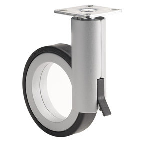 """3-1/2"""" D Rotola Series Design Caster Swivel with Brake with Plate Black Aluminum"""