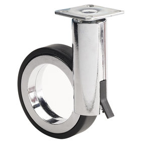 """3-1/2"""" D Rotola Series Design Caster Swivel with Brake with Plate Black Chrome"""