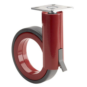 """3-1/2"""" D Rotola Series Design Caster Swivel with Brake with Plate Black Red"""