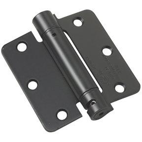 "3-1/2"" Full Mortise Adjustable Spring Hinge Flat Black 1/4"" Radius"