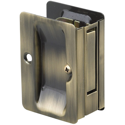 "View a Larger Image of 3-7/32"" (82 mm) Pocket Door Pull Rectangular Antique Brass Passage"