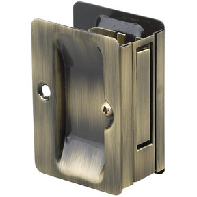 "3-7/32"" (82 mm) Pocket Door Pull Rectangular Antique Brass Passage"